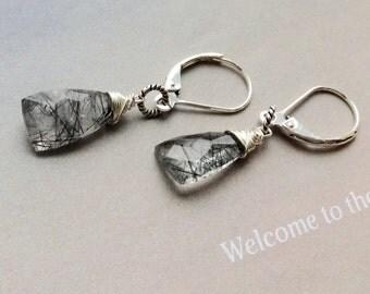 Tourmalated Quartz Earrings, Black Gemstone Earrings, sterling silver earrings, leverbacks, tourmalated quartz, natural gemstone, last one