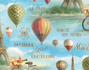 Eiffel Tower Scenic w/Hot Air Balloons and French Words-Bicycle & Flowers-BTY