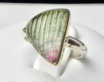 Carved Watermelon Tourmaline, 14Kt Gold Setting, Sterling Silver Ring. Size US-6, UK-L 1/2.