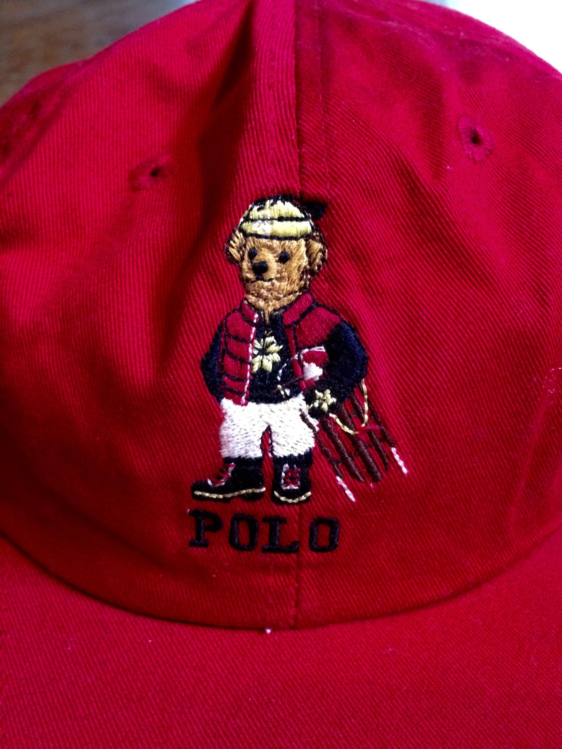 f1952736fbc Vintage RALPH LAUREN Polo Bear Winter Ski Sled Red Cotton HAT Size Large 92  93 Stadium