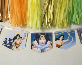 Wonder Women banner upcycled book