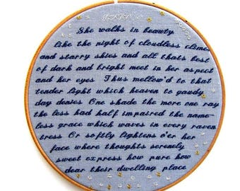 "Embroidery Wall Art Hoop: Lord Byron poetry ""She Walks in Beauty Like the Night"" embroidered hoop art romantic gift wedding anniversary"
