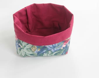 Handmade basket fabric textile cloth cotton linen bin organizer red flowers green blue old fashion vintage kitchen design storage small gift