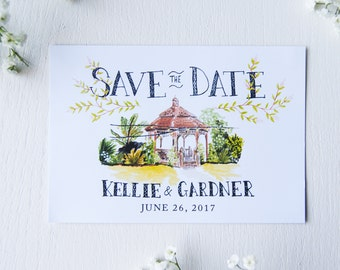 Printable Custom Illustrated Save the Date cards
