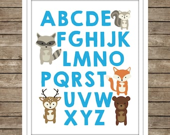 Woodland Animals Alphabet Digital Print ~ Instant Download ~ ABC's ~ Nursery Decor ~ Baby Room ~ Woodland Fox Bear Deer ~ Boys ~ Turquoise