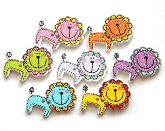 10 Painted Wooden Lion Buttons
