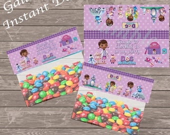 Doc McStuffins party bag toppers, Foldable treat favor toppers-Instant Download-two per page - Just print, cut and staple onto sandwich bag