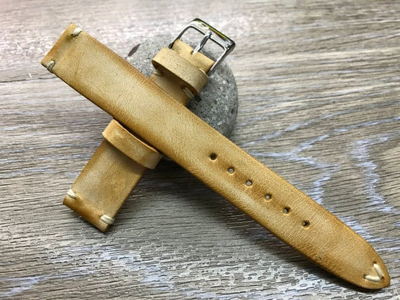 Handmade Leather Watch Strap | Leather Watch Band | Vintage Beige Leather Band for Rolex, IWC and Omega watch - 18mm/19mm/20mm lug