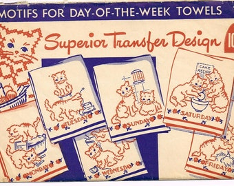 Vintage Kitten Days of the Week Embroidery Pattern Superior Pattern No. 142 in PDF Format Instant Download
