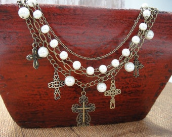 Southwest Necklace - Western Necklace - Boho Necklace - Antq Bronze Chain Necklace - Multi-Chain Necklace - Pearl Necklace - Cross Necklace