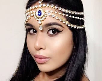 BLUE Gold Sapphire Pearl Prom Wedding Bridal Goddess Bohemian Boho Grecian Head Chain Hair Jewelry Head Piece Bollywood Bride Glam