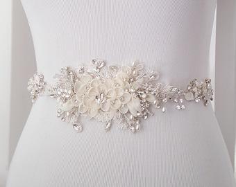 Floral Wedding Sash, Bridal Belt, Custom Wedding Belts and Sashes - Style 789.1