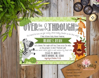 long distance baby shower invitation jungle theme boy neutral jungle baby shower shower by mail