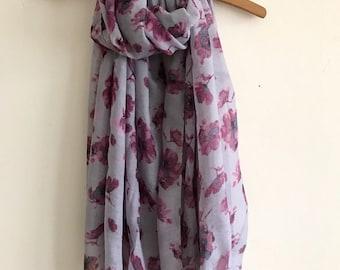 Mauve Purple Pink Grey Gray Flower Print Scarf,Floral Scarf, Flower Print Ladies Fashion Scarf, Spring, Gift Idea Scarf SS17