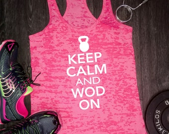 Keep Calm and WOD On workout tank, funny workout tank, women's workout tank, women's gym tank, fitness tank, gym tank, burnout workout tank