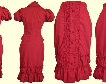 Burgundy Ruched Skirt  - Ready To Ship