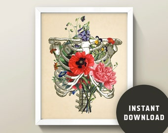 Rib Cage & Flowers Collage • 8x10 Wall Art / Print • Instant Digital Download!