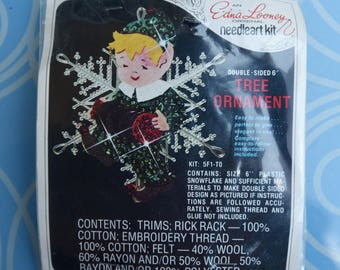 Pixie Elf - Vintage Edna Looney Christmas Jeweled Ornament Craft Kit Double Sided