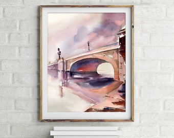 Fine Art Print of cityscape with bridge, watercolor painting print, cityscape art, wall art, modern print, home decor art