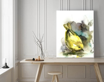 Yellow warbler art print, bird print, watercolor painting print, bird painting, bird poster, illustration, Bird Art