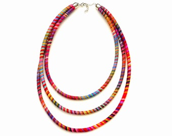 Multi Layer Textile Statement Necklace, Colorful Fabric Necklace, Multi Strand Cotton Necklace, Rope Necklace, Modern Textile Jewelry