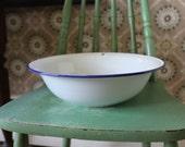 Swedish Enamelware Bowl, White Enamelware Bowl with Blue Edge, White and Blue Enamelware Basin, White and Blue Enamelware Bowl, Like New