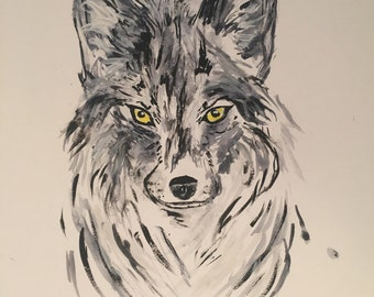 Original Watercolor Wolf Painting