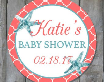 Customizable Starfish Themed Baby Shower Favor Tags - Beach Themed Shower Label Stickers - Buy 3 Get 1 Free
