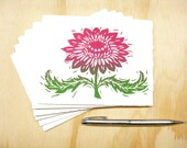 Magenta Pink Flower Cards - Set of 6 Block Printed Cards - Mothers Day - Floral - READY TO SHIP
