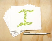 Letter I Stationery - Choose Your Color - Personalized Gift - Set of 6 Block Printed Cards - Made To Order
