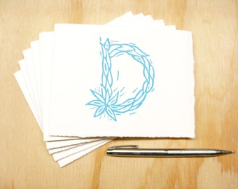 Letter D Stationery - Personalized Gift - Set of 6 Block Printed Cards - READY TO SHIP