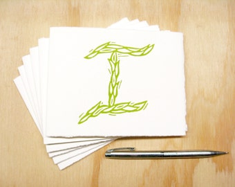 Letter I Stationery - Set of 6 Block Printed Cards - Choose Your Color - Personalized Gift - MADE TO ORDER