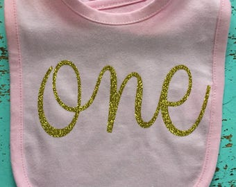FIRST BIRTHDAY ~ Baby Girl BIB ~ Pink & Gold ~ Velcro closure ~ by Sparkle and Denim