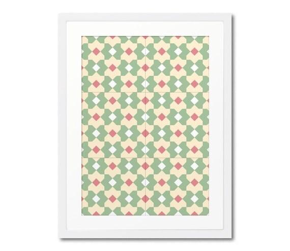 Geometric Pattern Framed Print, Geometric Wall Art, Graphic Decor, Wall Decoration, Modernist Art, Ceramic Tile Print, Wood Frame