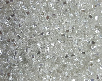 Matsuno 6/0 Japanese Seed 4mm Beads - Silver Lined Square HL Clear 06-064 - 20 grams