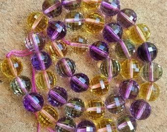 "Stunning A+ Grade Natural Faceted 10mm Round Ametrine Crystal Quartz - 15.5"" Strand"