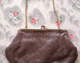 Bronze lame evening bag CRF handbag gold lame bag 1960s evening purse 1970s evening bag vintage evening bag with chain shoulder bag