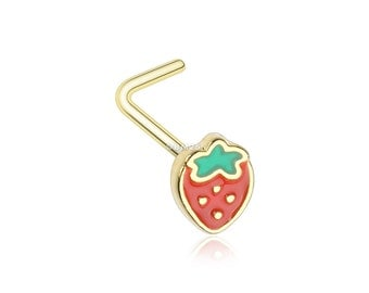 Golden Adorable Strawberry L-Shaped Nose Ring