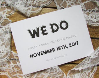 Kate Save the Date Card | We Do Save the Date | Recycled Save the Date Card | A6 Card & Envelope | Kate Collection