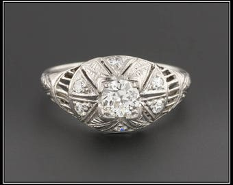 Antique Platinum and Diamond Engagement Ring | Antique Diamond Ring | Diamond Filigree Ring | EGL Certified Antique Diamond Ring