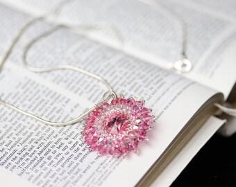 Rose Pink Rivoli Swarovski Starburst Pendant
