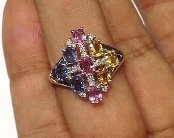 3.00 Carat Blue, Pink and Yellow Sapphire and Diamond Ring in 14K White Gold