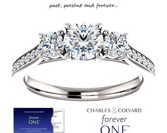 14K Gold 1.00 Carat Moissanite Forever One 3 Stone Ring (with Charles & Colvard authenticity card)