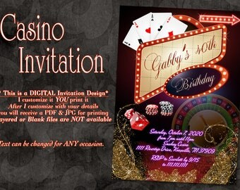 Las Vegas Birthday Invitation, Vegas Invitation, Gold Casino Invitation, Casino Birthday Invitation, Glitter Casino Invitation