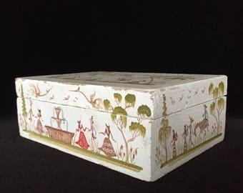 Mexican folk art wooden box hand painted Salvador Corona style vintage keepsake wooden hinged box handmade box small storage box home decor