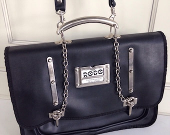 Black leather messenger bag with edge !
