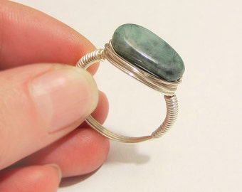 Large Natural Emerald Ring, Raw Emerald Ring, Wire Wrapped Ring, Raw Stone Ring, Large Stone, Rough Emerald, Natural Emerald, Attract Love