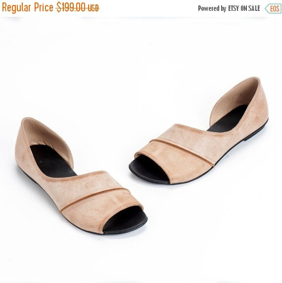 Smoky Sand Brown Leather Shoes / Flat Shoes / Women Sandals / Every Day Shoes / Comfortable Designer Shoes / Peep Toe Flats - Karry