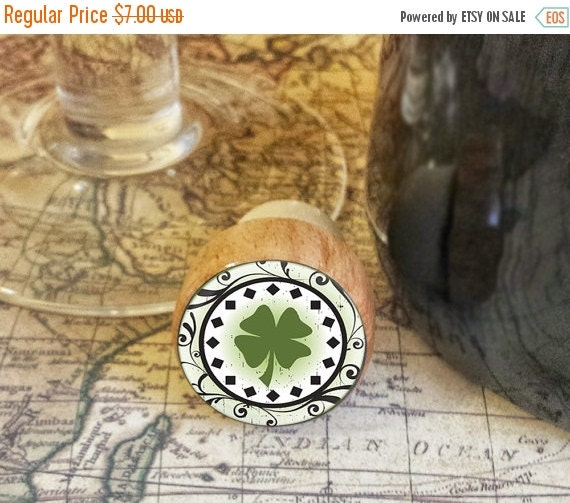 Decorative Wine Bottle Stoppers: ON SALE Wine Stopper Decorative Four Leaf Clover By