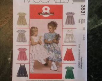 MCCALLS, sewing pattern 3531, girls, child, summer dress, size 4,5,6, sewing, pattern, craft supplies, 8 styles in one pattern